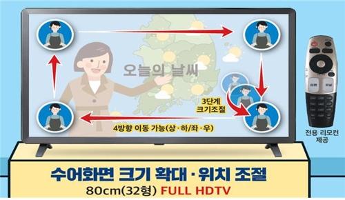 수어화면 크기 확대 위치조절 가능한 FULL HDTV 그림 설명